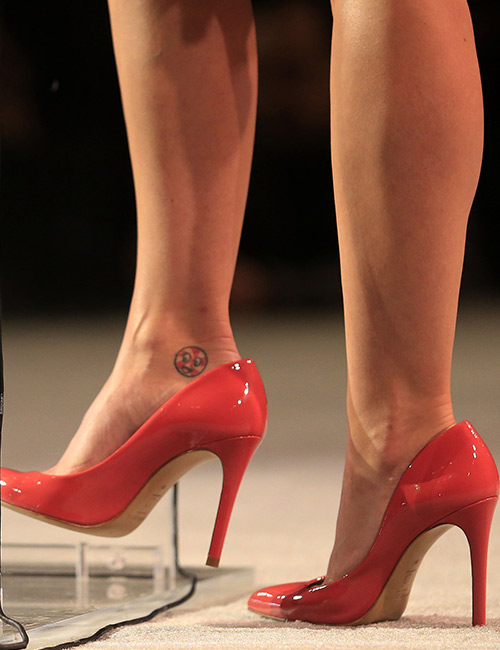 Peppermint Tattoo On Her Ankle