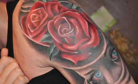Rose with skull tattoo