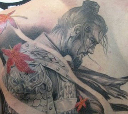 Samurai with flowers tattoo