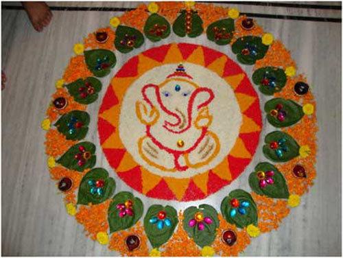 Simple Ganesha Rangoli