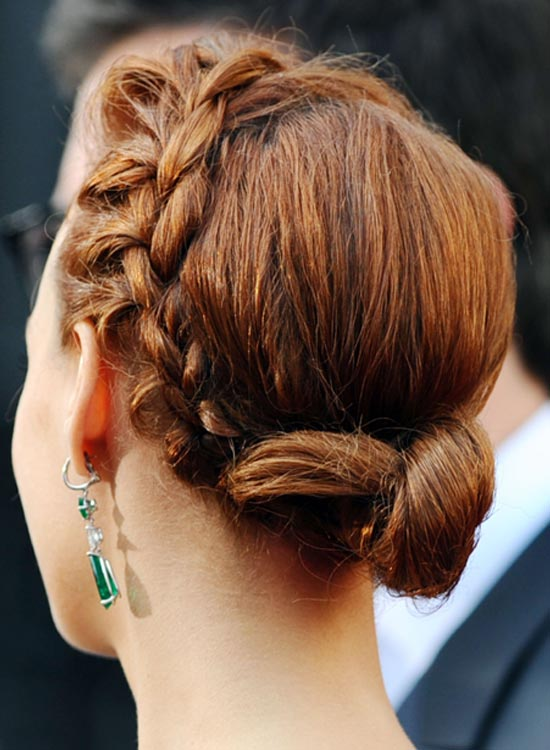 Small Low Twisted Bun with Side Braid