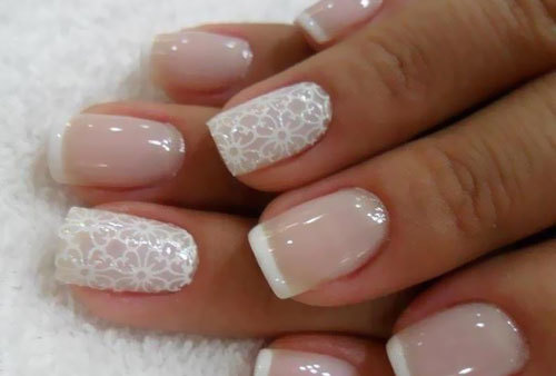 Stamped French Tips Nail Design
