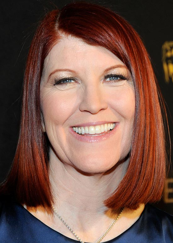 Straight Reddish Brown Bob with Side Part