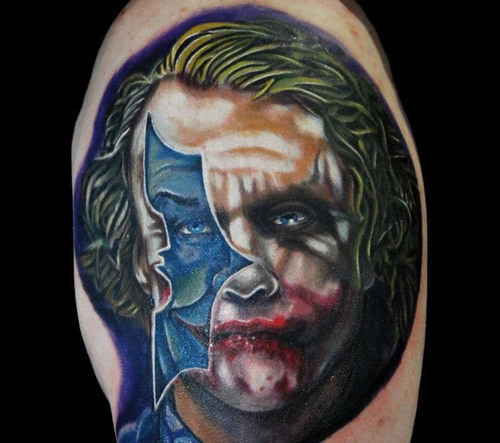 The Joker with a Bat Silhouette Tattoo