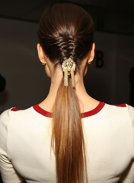 Tight Half Braided Ponytail with Embellishment