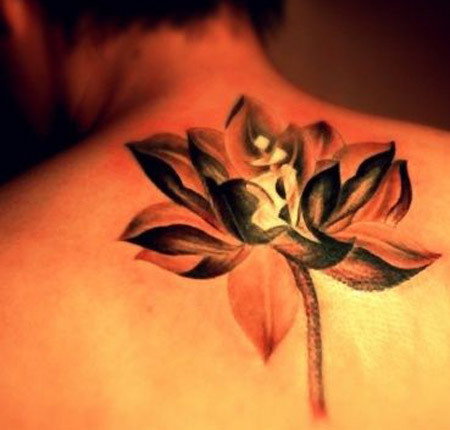 Upper Back Lotus Tattoo