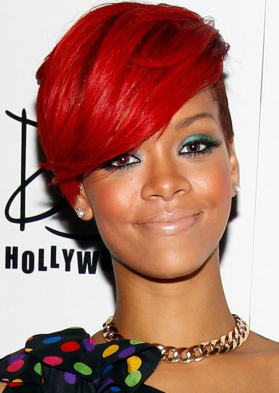 Very Short Fiery Red Bob with Long Side-Swept Bang