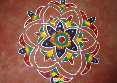 Wet Paint Flowers Rangoli