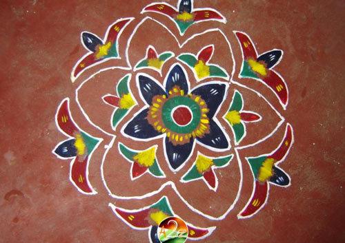 Wet Paint Flowers Rangoli