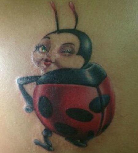 Winking Animated Ladybug Tattoo
