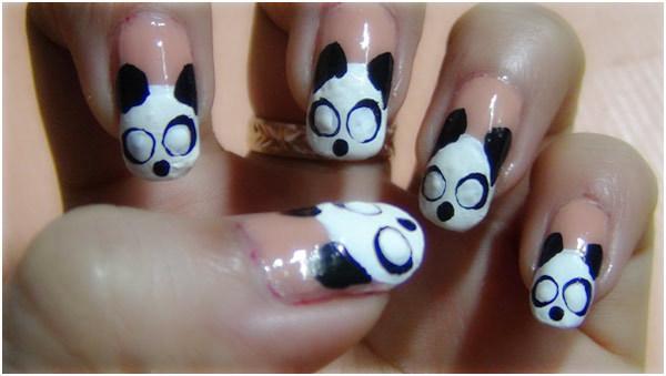 Panda Nail Art Tutorial - Step 6: Create Eye Circles with White Polish