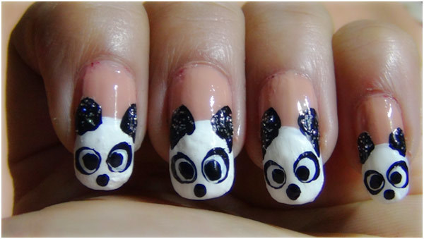 Panda Nail Art Tutorial - Step 7: Create Eyeballs With Black Polish