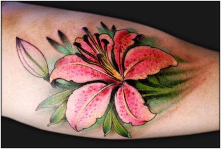 pink lily tattoo foot