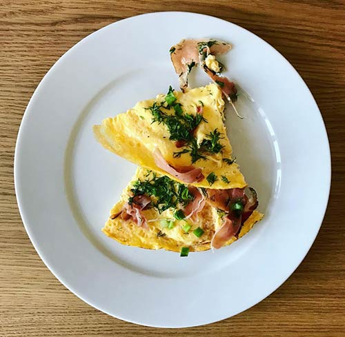 2. Ham And Greens Omelet