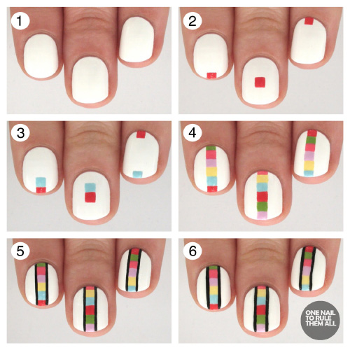 A Rainbow Ladder Nail Art