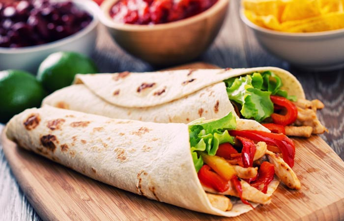 Leptin Diet Recipe - Capsicum And Cottage Cheese Wrap