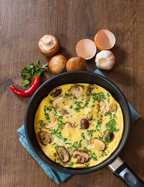 Low-Calorie Breakfast - Egg And Mushroom Omelet