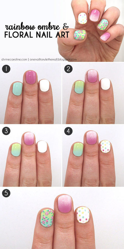 Rainbow Ombre & Floral Nail Art