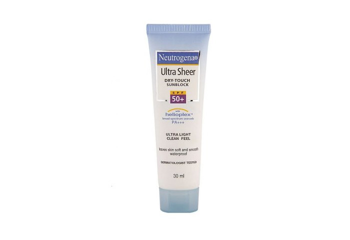 2. Neutrogena Ultra Sheer Dry Touch Sunblock SPF 50+ PA+++ - Best Sunscreens For Oily Skin