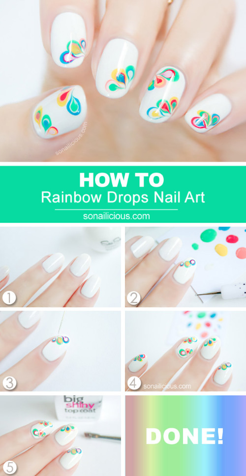 Rainbow Drop Marble Nail Art