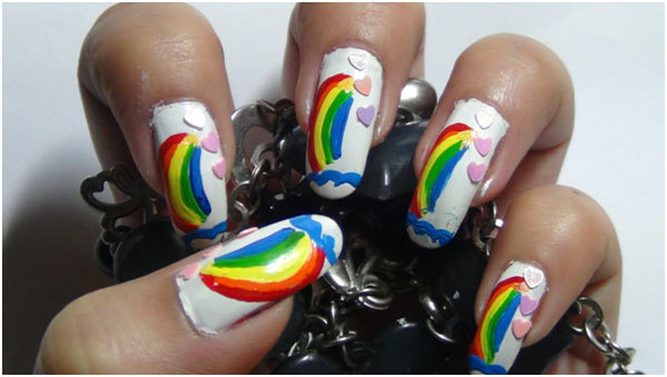 Rainbow Nail Art Tutorials 9