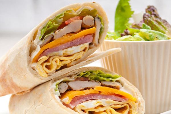 Low Calorie Breakfast - vegetable club sandwich