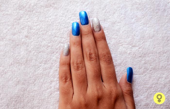1. Apply Blue and Silver Nail Polishes - Snowy Night Nail Art