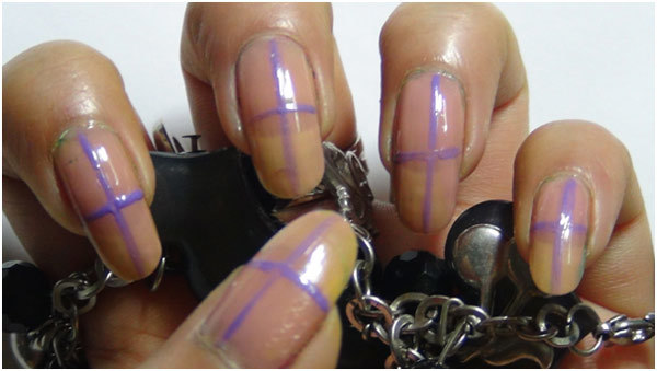 Trendy Duo-Tone Purple Nail Art Tutorial - Step 1: Apply Base Coat and Draw Demarcations