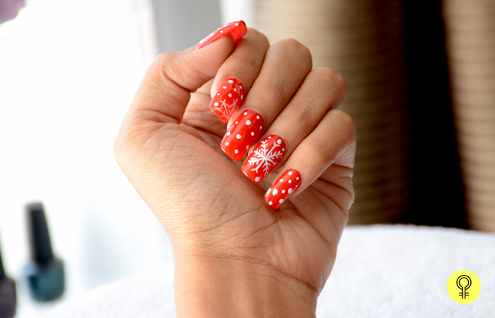 3. Draw Snowflake Design - Red and White Christmas Nail Art