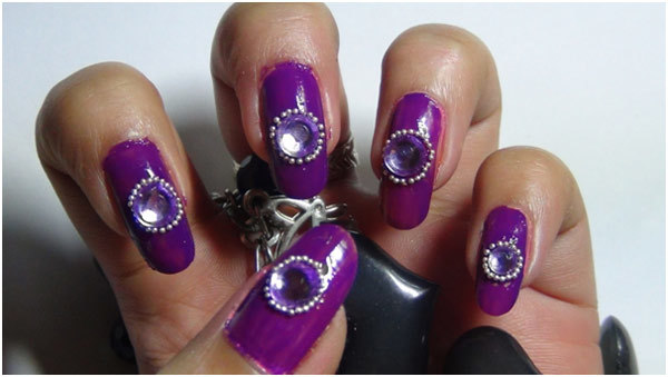 Studded Purple Nail Art Tutorial - Step 5: Apply Transparent Polish