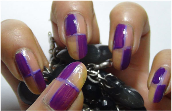 Trendy Duo-Tone Purple Nail Art Tutorial - Step 2: Apply Dark Purple Nail Polish