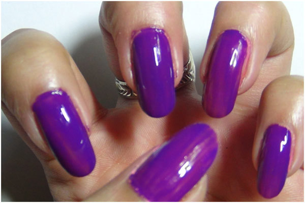 Studded Purple Nail Art Tutorial - Step 2: Apply Purple Nail Polish