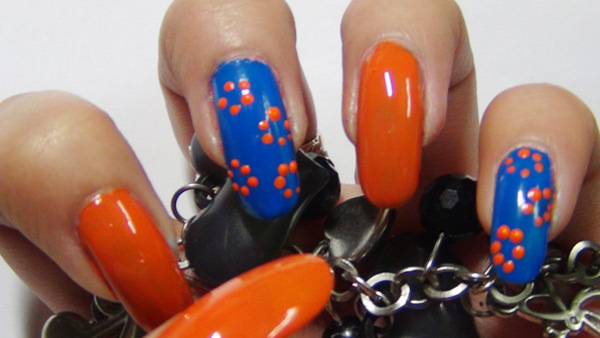 3. Add Dots in Floral Shape - Spring Floral Nail Design Tutorial