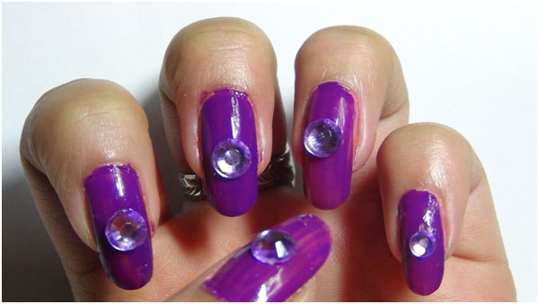 Studded Purple Nail Art Tutorial - Step 3: Put A Dollop On The Centre