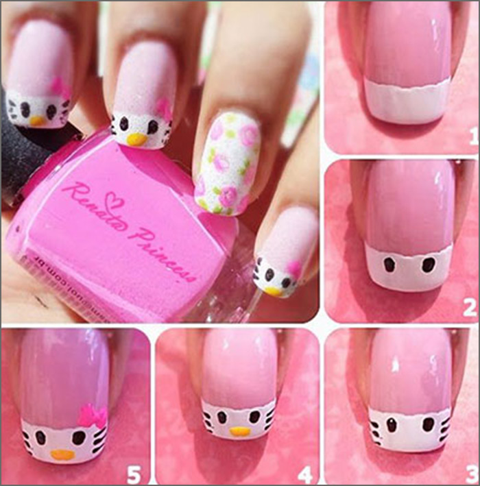 30 cute pink nail art design tutorials with pictures pink and white nail designs 1 easy hello kitty prinsesfo Choice Image