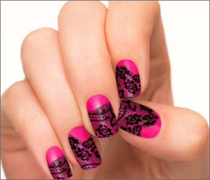 Bold Pink Lace - Pink And Black Nail Art