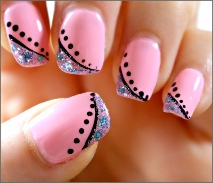 Elegant Minimalism - Pink And Blue Nail Art