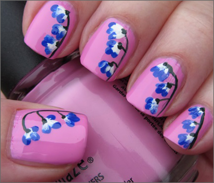 Pink and Blue Blossoms Nail Art - 30 Cute Pink Nail Art Design Tutorials With Pictures