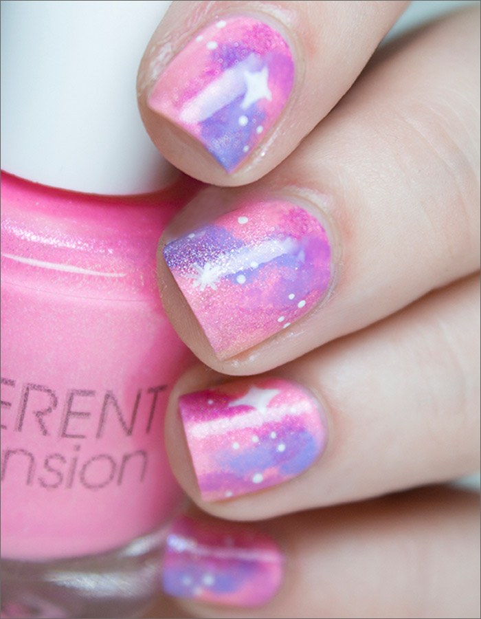 30 cute pink nail art design tutorials with pictures pastel galaxy nail design prinsesfo Choice Image