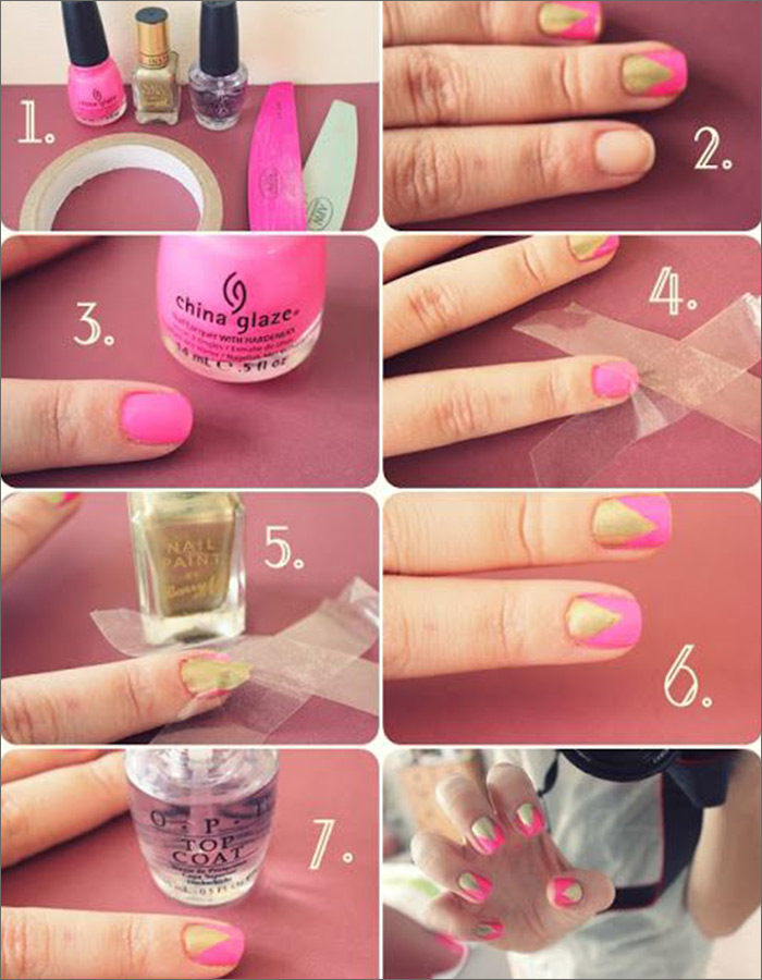 Pink And Gold Nail Designs 19 Angled Accent