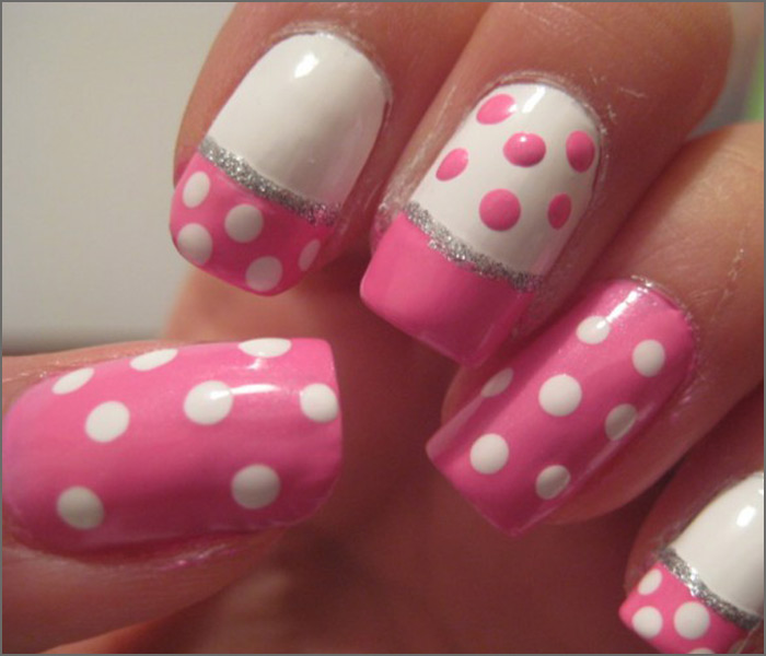 30 cute pink nail art design tutorials with pictures pink and white nail designs pink polka magic prinsesfo Choice Image