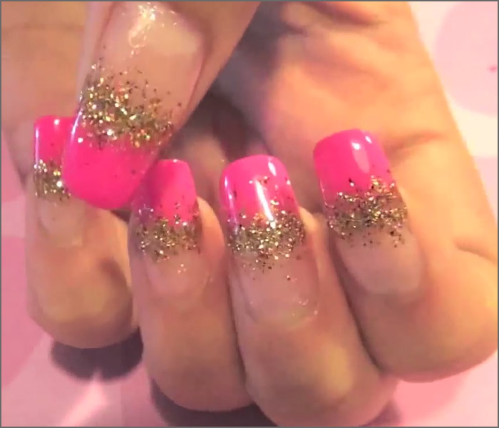 Pink and Glitter Tips Nail Art