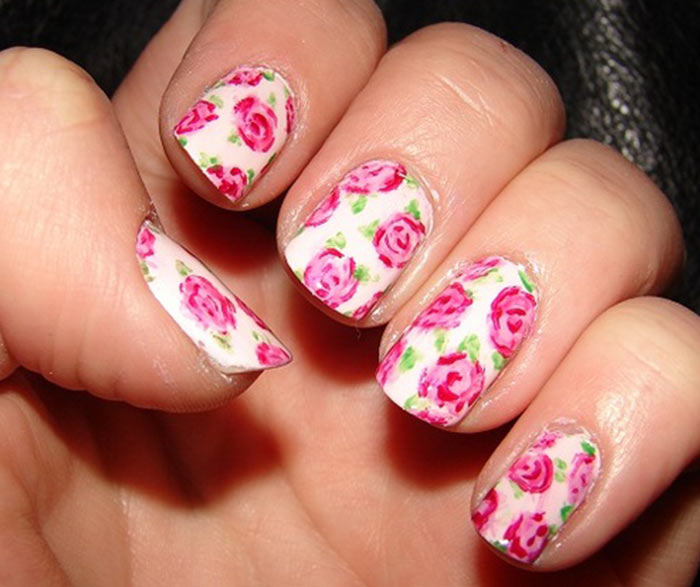 Romantic Roses - Pink And Green Nail Art