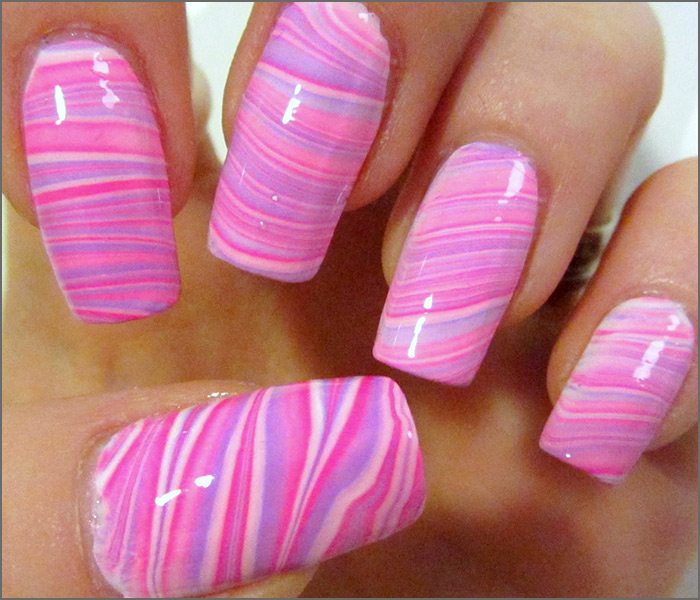 Pink and Purple Water Marbling Nail Art