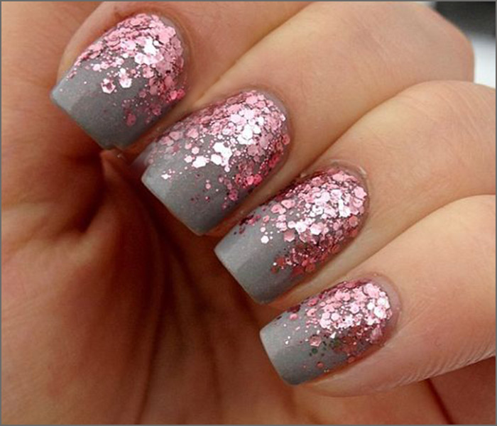 30 cute pink nail art design tutorials with pictures pink and grey glitter nail art prinsesfo Images