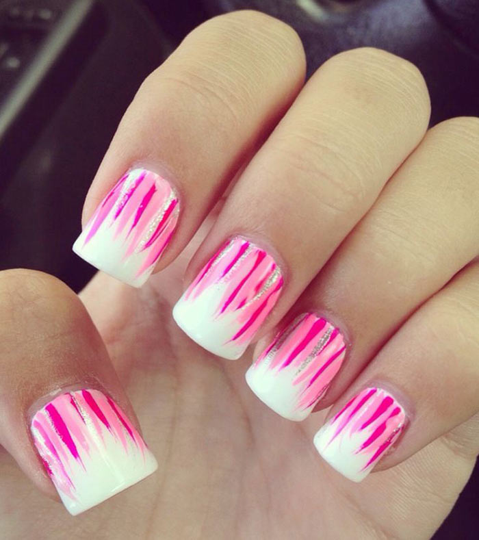 Pink And White Nail Designs - Pink Flames - 30 Cute Pink Nail Art Design Tutorials With Pictures