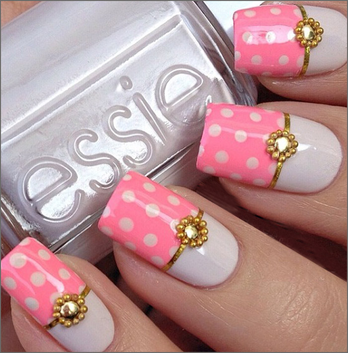 4. Half n Half Glam - 30 Cute Pink Nail Art Design Tutorials With Pictures
