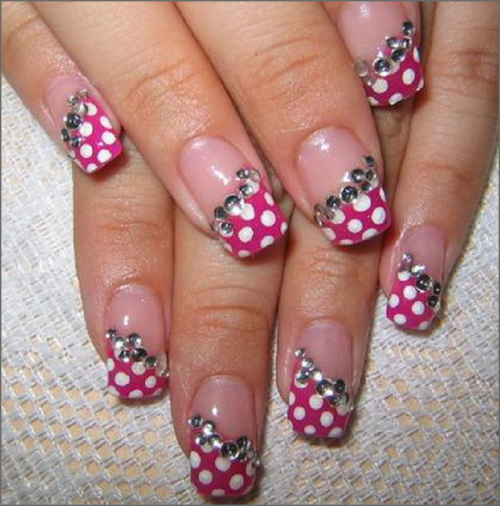 Pink Polka and Rhinestones Tips - Pink And White Nail Art