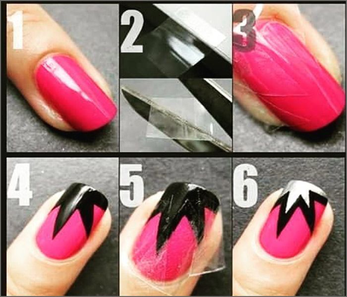 Pink Diva - Pink And Black Nail Art