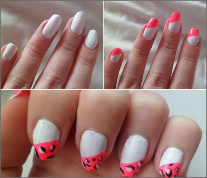 White And Pink Leopard Nail Art